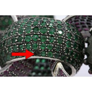 Jessica Kagan Cushman Bracelet Ruby Sapphire Emerald Pave Link Sterling Silver