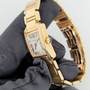Cartier Tank Francaise 2385 18k Yellow Gold Ladies Watch Box & Papers