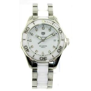 TAG HEUER LADIES AQUARACER WAY131D.BA0914 QUARTZ WHITE CERAMIC DIAMOND WATCH