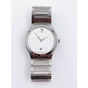 Movado 28-1-14-1121 White Dial Stainless Steel Mens Watch with Date