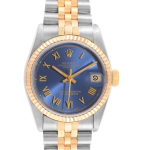 Rolex Datejust Midsize Steel Yellow Gold Blue Dial Ladies Watch 68273