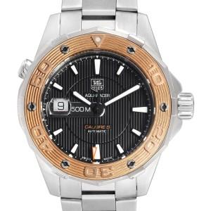 Tag Heuer Aquaracer Steel 18K Rose Gold Mens Watch WAJ2150