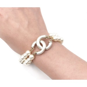 Chanel Gold Tone Double Strand Simulated Glass Pearl CC Bracelet