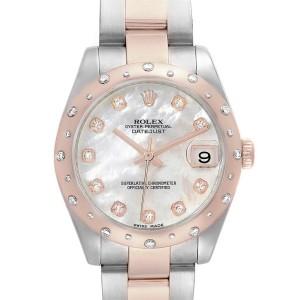 Rolex Datejust Midsize Steel Everose Gold MOP Diamond Ladies Watch 178341