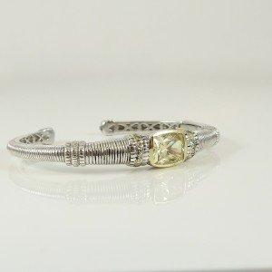 Judith Ripka Sterling Silver 18K Yellow Gold Canary Crystal & Diamond Kick Bracelet