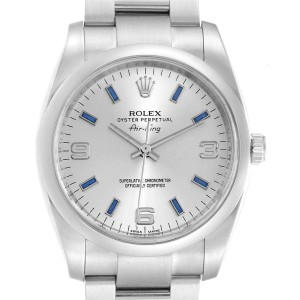 Rolex Air King 34 Silver Dial Blue Baton Hour Markers Steel Watch 114200