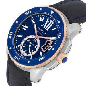 Cartier Calibre Diver Steel Rose Gold Blue Dial Mens Watch W2CA0009
