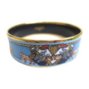 Hermes Enamel Cloisonne Palladium Bangle Bracelet