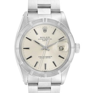 Rolex Date Vintage Silver Baton Dial Stainless Steel Mens Watch 1501