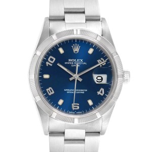 Rolex Date Blue Dial Engine Turned Bezel Steel Mens Watch 15210