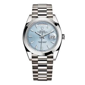 Rolex Day-Date II Platinum Ice Blue Diagonal Dial 40mm Watch
