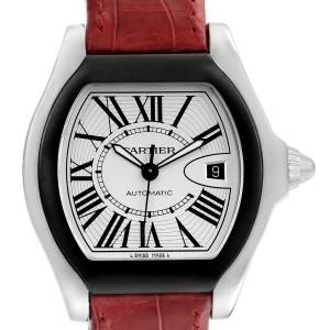 Cartier Roadster S Silver Dial Red Strap Steel Unisex Watch W6206018