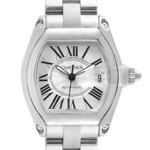 Cartier Roadster Silver Roman Dial Steel Mens Watch W62025V3