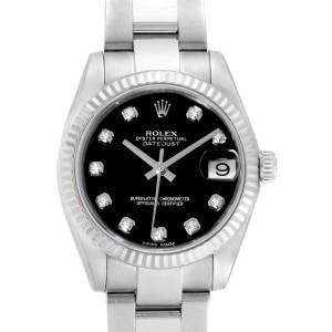 Rolex Datejust Midsize Steel White Gold Black Diamond Dial Watch 178274