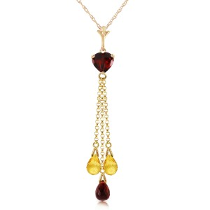 4.75 CTW 14K Solid Gold Necklace Briolette Garnet Citrine