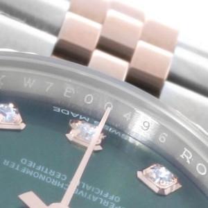 Rolex Datejust Steel Rose Gold Olive Green Diamond Ladies Watch 279171