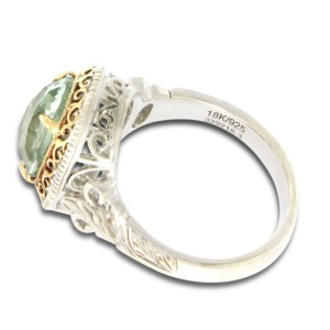 Gabriel & Co. 925 Sterling Silver 18K Yellow Gold Quartz Ring Size 7