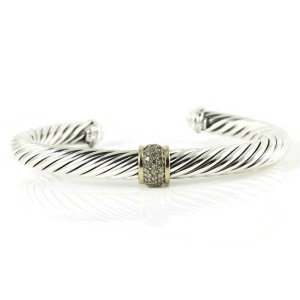 David Yurman Sterling Silver 18K Yellow Gold .21tcw 7mm Pave Diamond Cable Classics Bracelet with Yellow Gold
