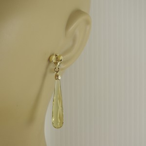 Saint by Sarah Jane 18K Yellow Gold Lemon Citrine Briolette Drop Bee Earrings