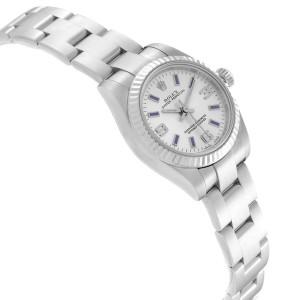 Rolex Nondate Steel White Gold Blue Hour Markers Ladies Watch 176234