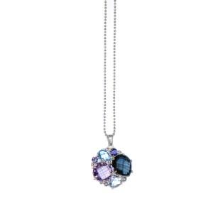 Anzie Sterling Silver Amethyst, Iolite, London Blue Topaz, Sky Blue Topaz Necklace