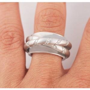 18K White Gold Diamond Triple Ring