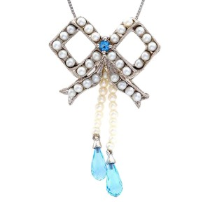 18K White Gold Pearl Blue Topaz Bow Pendant