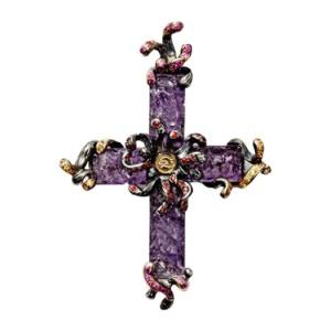 Robert Wander Sterling Silver, Amethyst & Sapphire Cross Pendant