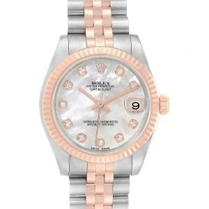 Rolex Datejust Midsize Steel Rose Gold MOP Diamond Ladies Watch 178271