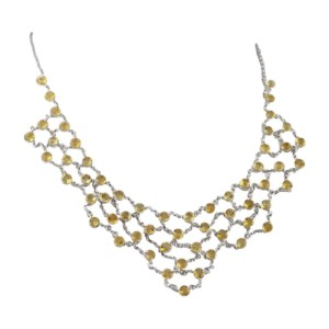 Sterling Silver Champagne Citrine Draped Necklace
