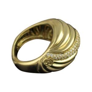 David Yurman 18K Yellow Gold Diamond Sculpted Cable Ring