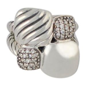 David Yurman Sterling Silver Diamond Pave Large Cushion Chiclet Mosaic Ring