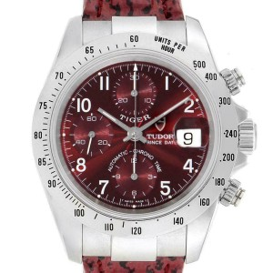 Tudor Tiger Woods Chronograph Burgundy Dial Steel Mens Watch 79280P