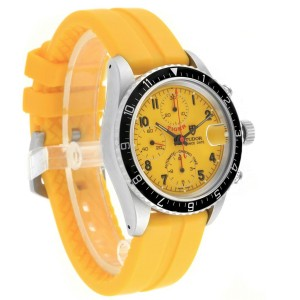 Tudor Tiger Woods Prince Date Yellow Dial Leather Strap Mens Watch 79270