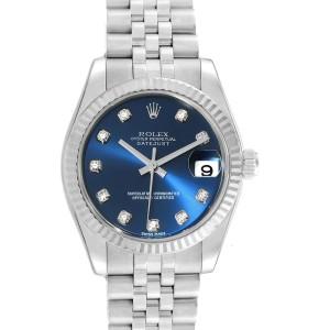 Rolex Datejust Midsize Steel White Gold Blue Diamond Dial Watch 178274