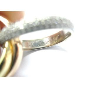 Cartier 18Kt 3-Color Trinity Pave Diamond Ring