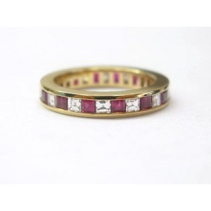Tiffany & Co 18K Yellow Gold Gem Ruby Diamond Band Ring