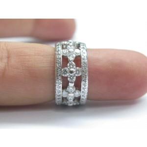 18K White Gold Diamond Wide Band Ring