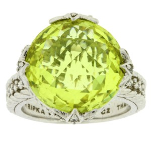 Judith Ripka 925 Sterling Silver with Canary Crystal and Cubic Zirconia Ring Size 8