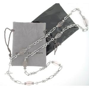 David Yurman Rose Quartz Diamond and Sterling Silver Necklace