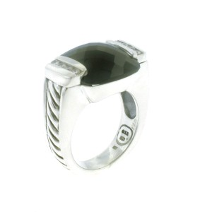 David Yurman Sterling Silver Black Onyx and Diamond Deco Ring