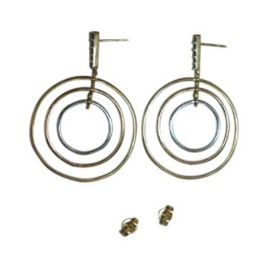 Monica Rich Kosann 18K Tricolor Gold Saturn Gyroscope Black Diamond Earrings