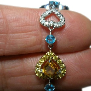 14K White Gold Rhodolite Diamond Amethyst Topaz Tourmaline Heart Bracelet
