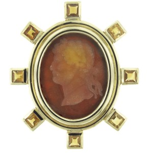 Elizabeth Locke 19K Yellow Gold And Venetian Glass Brooch