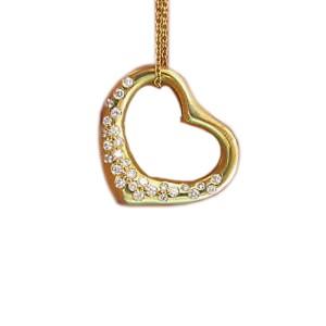 Tiffany & Co. Elsa Peretti 18K Yellow Gold & 0.70ct Diamond Open Heart Pendant Necklace