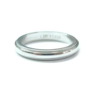 Tiffany & Co. PT950 Platinum Milgrain Wedding Band Ring Size 6.5