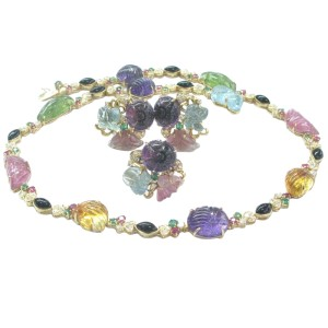 18Kt Multi Color Gemstone Tourmaline Carved Cabs Diamond Jewelry Set 103.4Ct