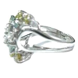 18K White Gold Multi Color Diamond Cocktail Ring
