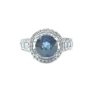 18K White Gold Sapphire, Diamond Ring Size 6.5