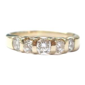14K Yellow Gold 5-Stone Round Cut Diamond Band Ring